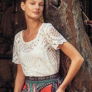 Anthropologie Sheer White Lace Top XS